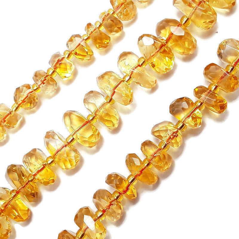 citrine irregular faceted pebble nugget center drill