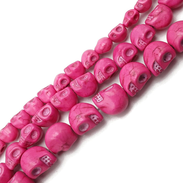 Pink Color Howlite Turquoise Skull Beads Size 6x8mm 8x10mm 10x12mm 15.5''Strand