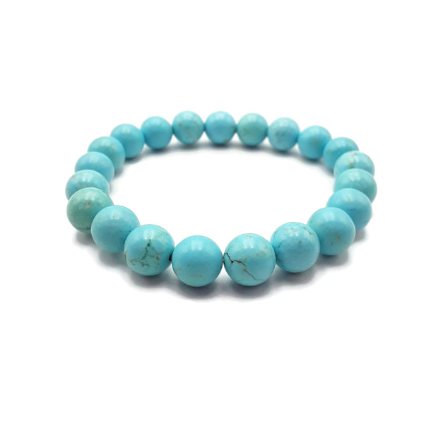 "Blue Turquoise Bracelet Smooth Round Size 8mm 10mm 7.5"" Length"