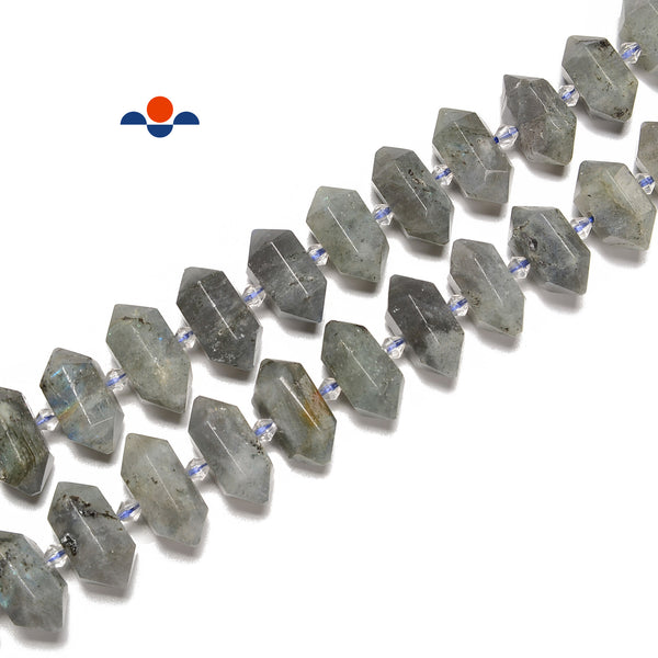 Labradorite Graduated Center Drill Faceted Points Beads 13mm-25mm 15.5'' Strand