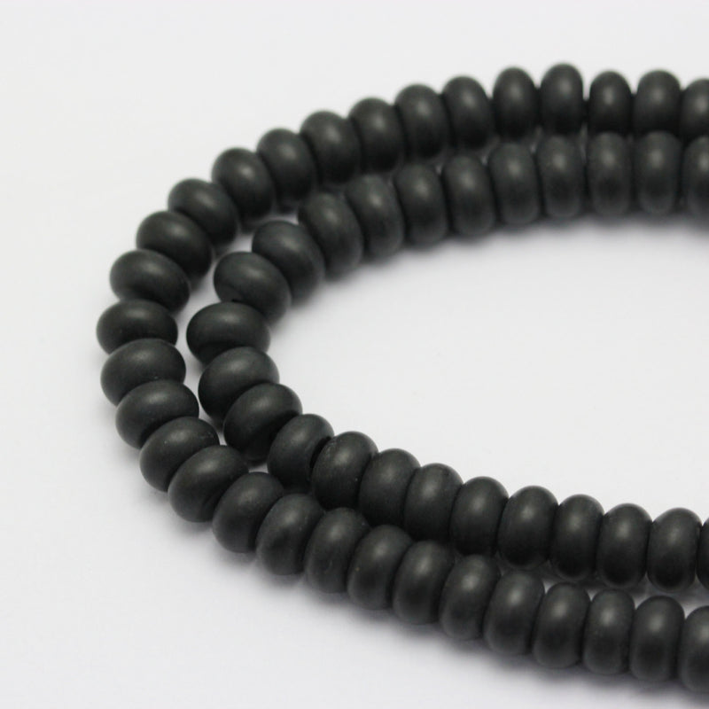 large hole black onyx matte rondelle beads