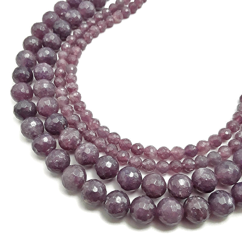 lepidolite faceted round