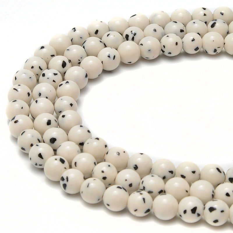 "Dalmatian Jade Smooth Round Beads Size 6mm 8mm 10mm 15.5"" Strand"