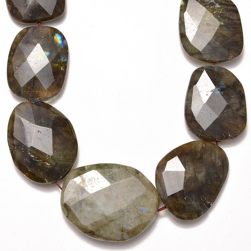 labradorite graduated faceted irregular oval beads