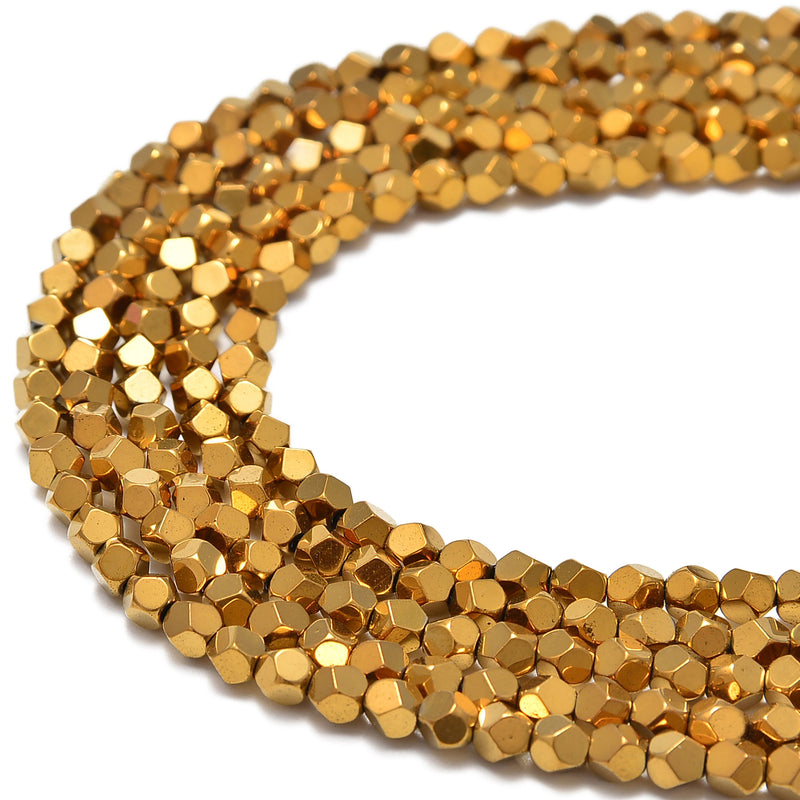 gold plated hematite faceted nugget beads