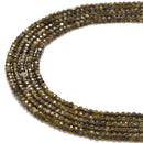 gold sheen obsidian faceted rondelle beads