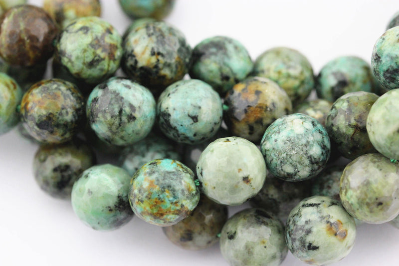 "African Turquoise Faceted Round Beads 6mm 8mm 10mm 12mm 15.5"" Strand"