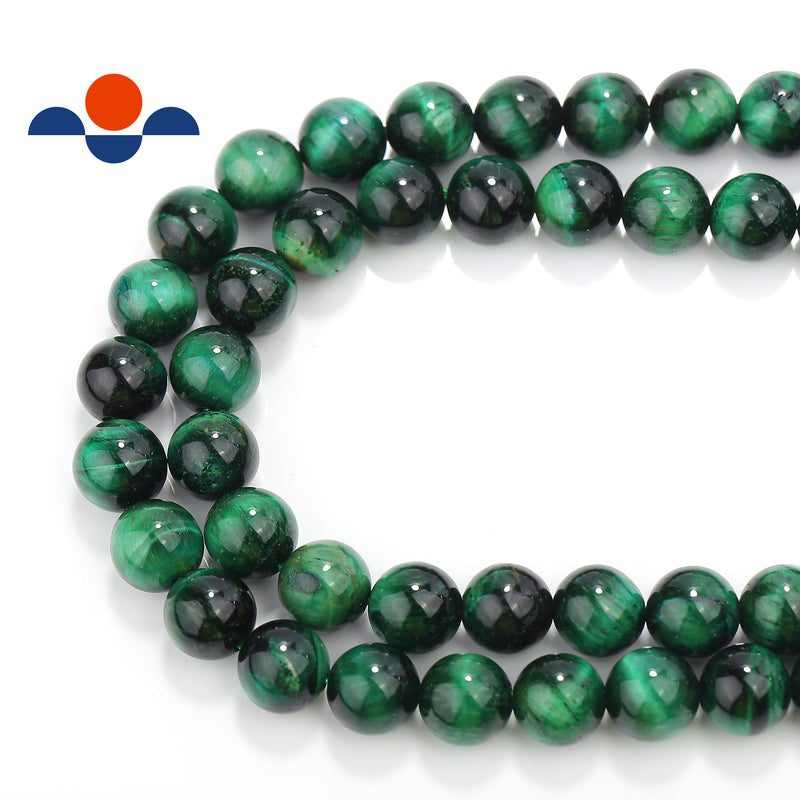large hole green tiger eye smooth round beads
