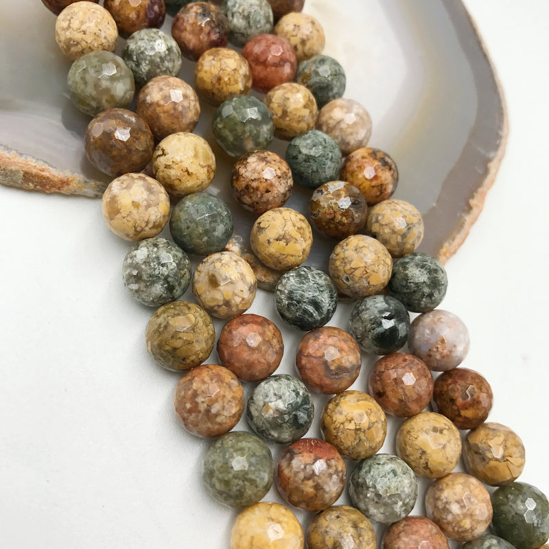 natural ocean agate faceted round beads