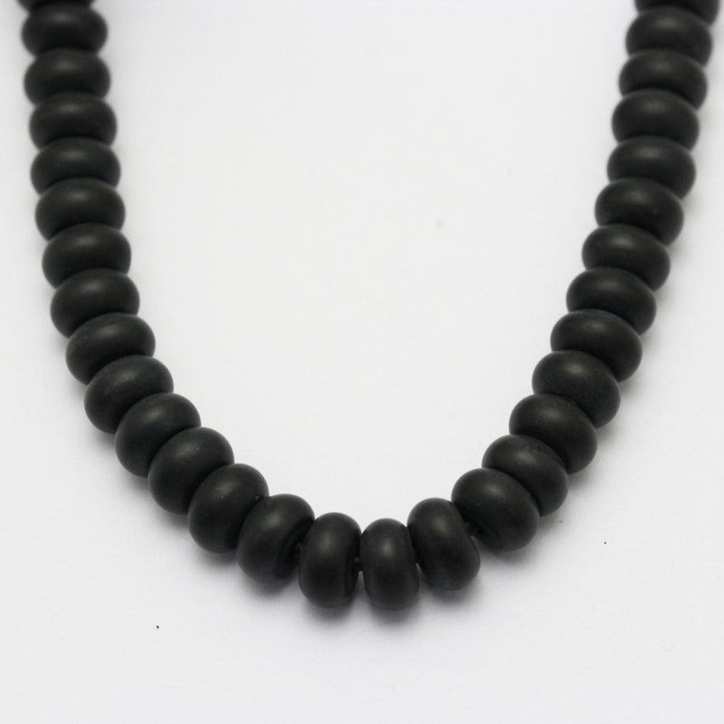 "2.0mm Hole Black Onyx Matte Rondelle Beads 5x8mm 6x10mm 8"" Strand"
