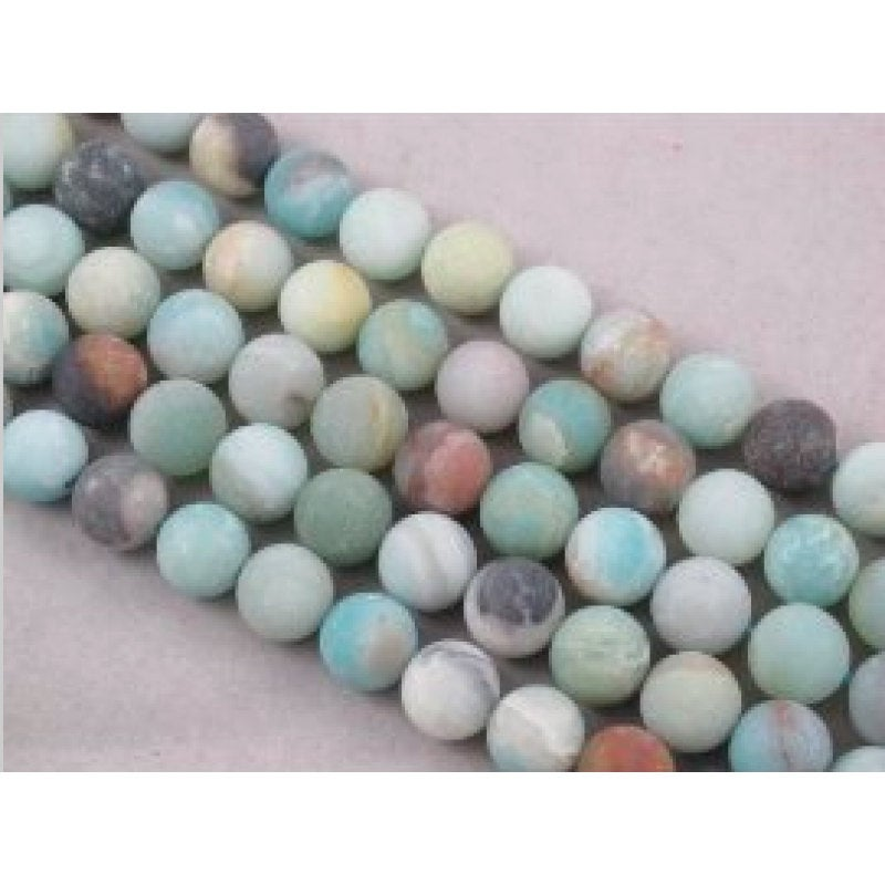 multi color amazonite matte round beads