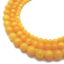 "Cloudy Yellow Dyed Jade Smooth Round Beads 6mm 8mm 10mm 15.5"" Strand"