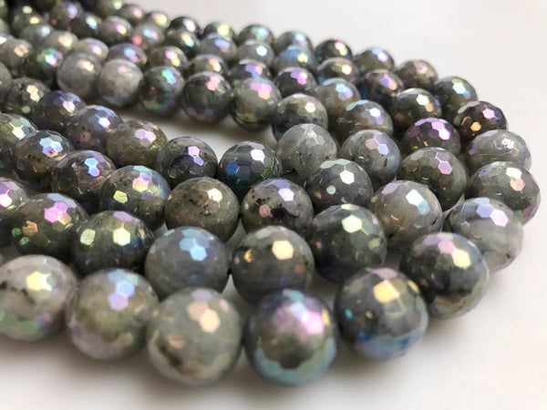 rainbow coated labradorite faceted round beads