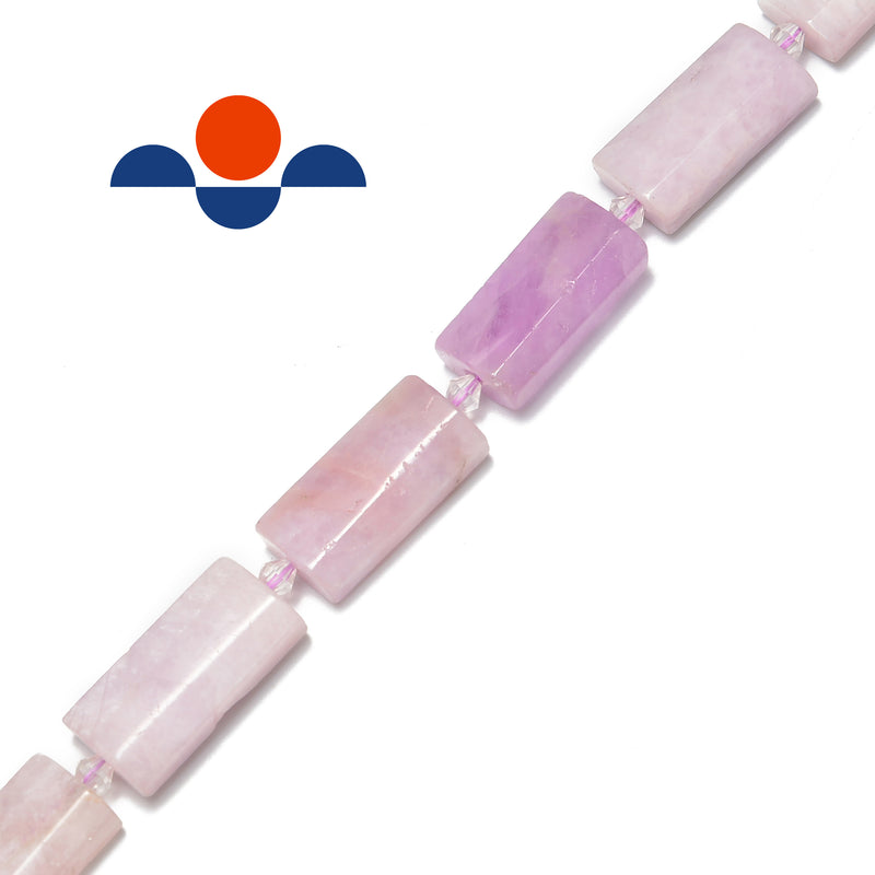 kunzite faceted flat rectangle cylinder tube beads