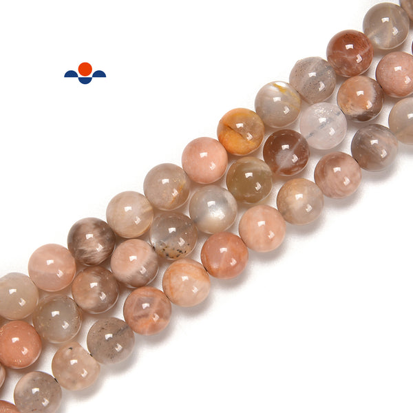 Multi-Color Peach Moonstone Smooth Round Beads Size 5mm -14mm 15.5'' Strand