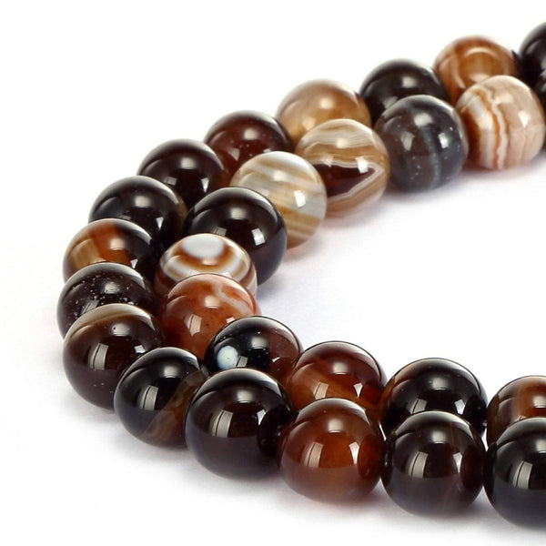 brown Striped agate smooth round beads