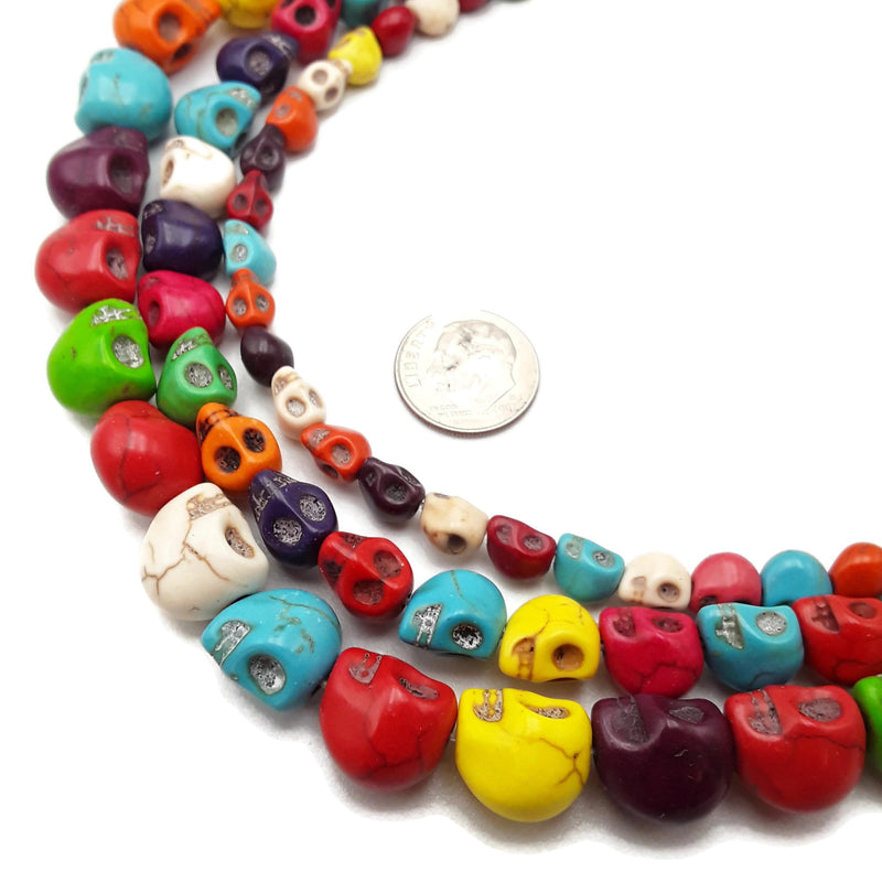 "Multi-Color Howlite Turquoise Skull Beads 6x8mm 8x10mm 10x12mm 15.5"" Strand"