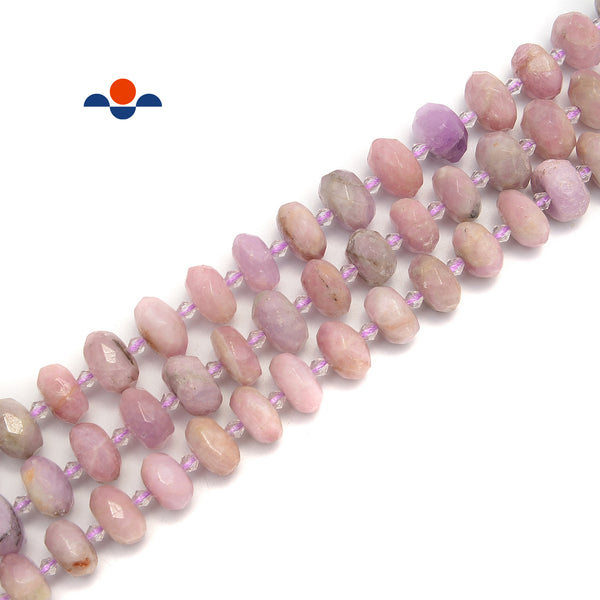 Natural Kunzite Faceted Rondelle Beads 7x13-9x14mm 15.5'' Strand