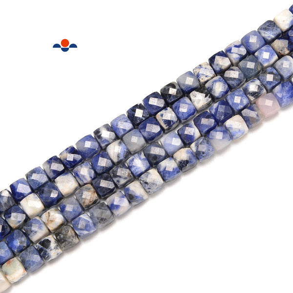 "Natural Sodalite Faceted Cube Beads Size 4-5mm 6-7mm 15.5"" Strand"