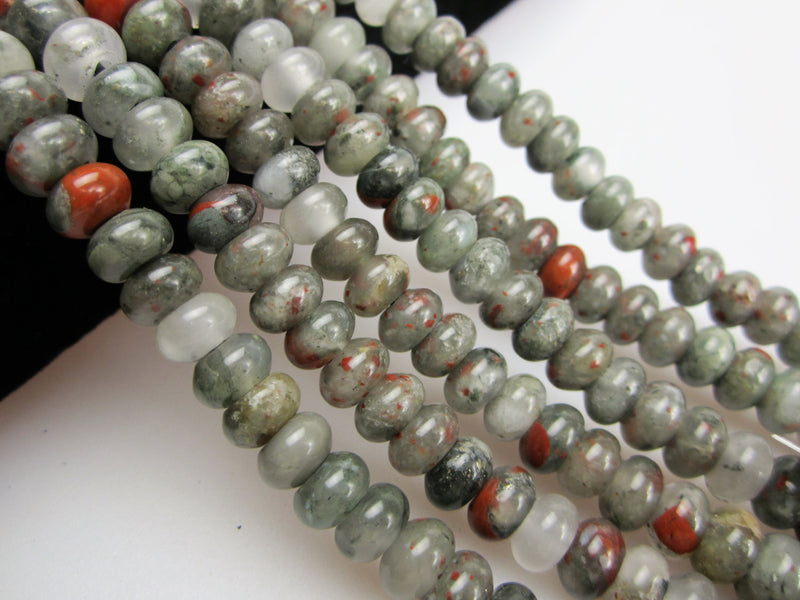 "2.0mm Hole African Bloodstone Smooth Rondelle Beads 5x8mm 6x10mm 8"" Strand"