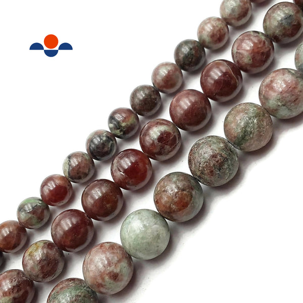 "Natural Kashgar Garnet Smooth Round Beads 10mm 12mm 14mm 15.5"" Strand"