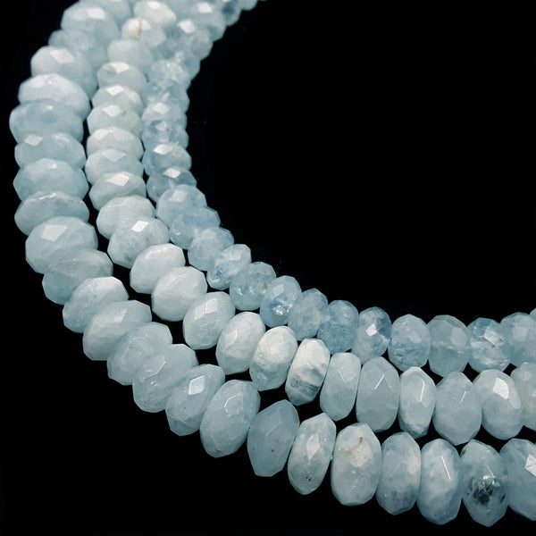 high quality aquamarine faceted rondelle beads
