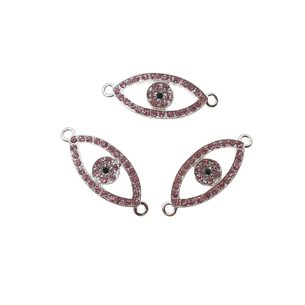 evil eye charm silver plated copper with micro pave pink zircon