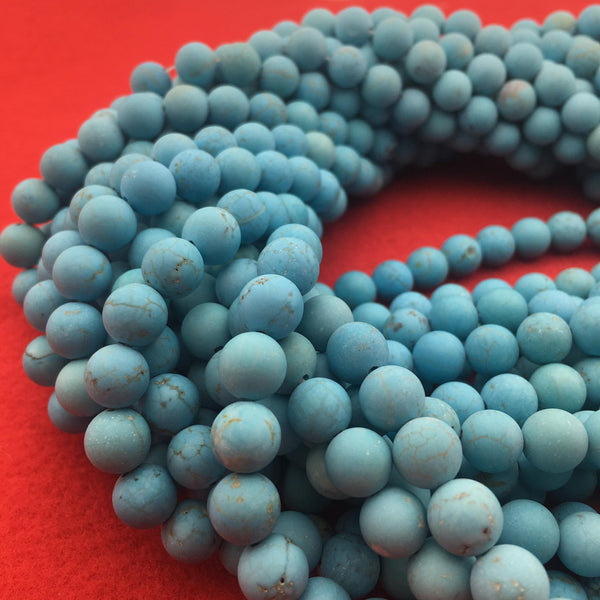 blue turquoise matte round beads