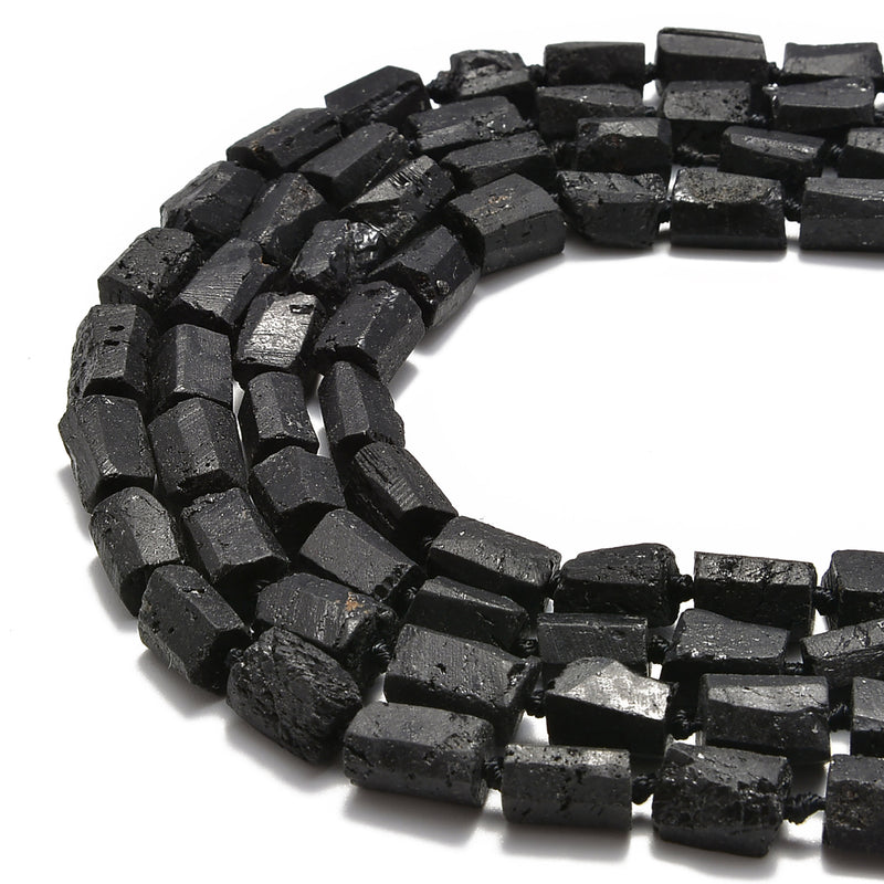 natural black tourmaline rough faceted tube beads