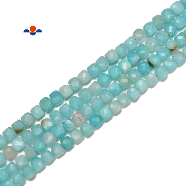 "Natural Amazonite Faceted Square Cube Dice Beads Size 4mm 15.5"" Strand"