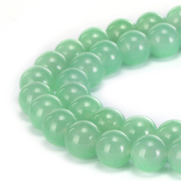 light green dyed jade smooth round beads