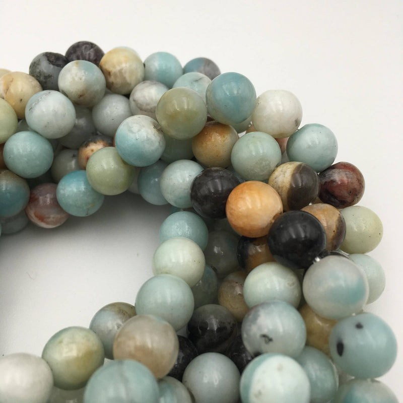 large hole multi color amazonite smooth round beads