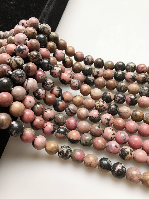large hole rhodonite smooth round beads