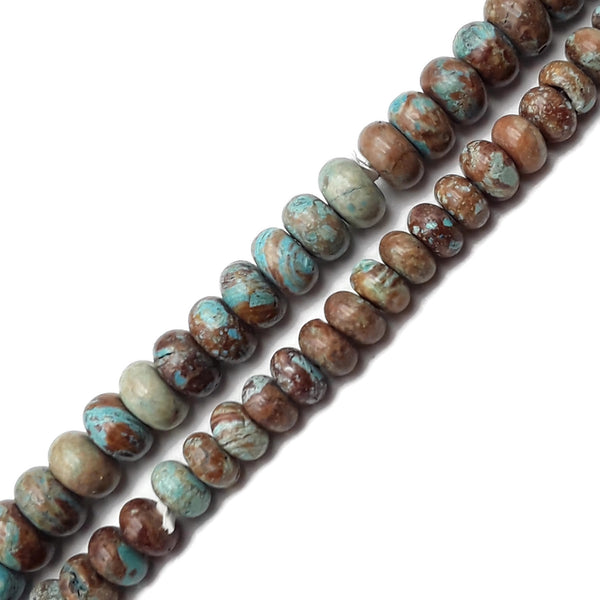 "2.0mm Hole Blue Calsilica Jasper Smooth Rondelle Beads 5x8mm 6x10mm 8"" Strand"