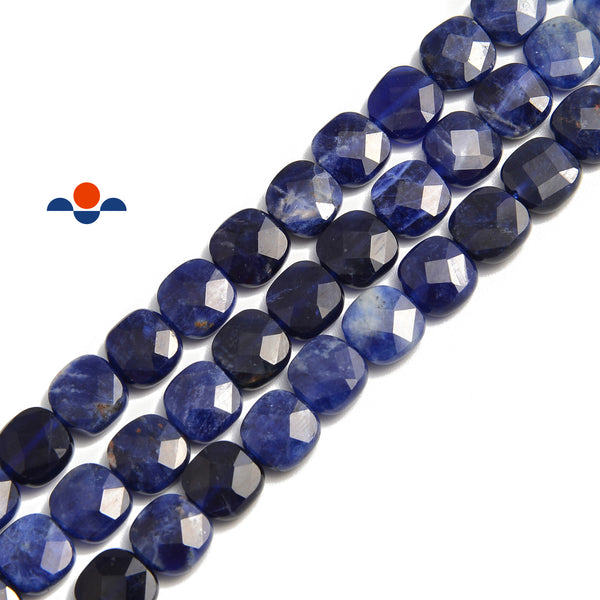 sodalite faceted flat square beads