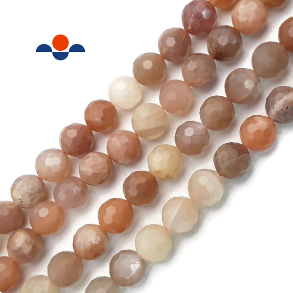 "Light Multi Color Moonstone Faceted Round Loose Beads Size 9mm 15.5"" Strand"