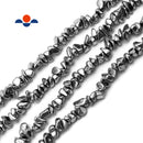 "Silver Plated Hematite Smooth Pebble Nugget Chips Beads 4-5mm 15.5"" Strand"