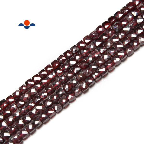 "Red Garnet Faceted Cube Beads Size 4mm 15.5"" Strand"