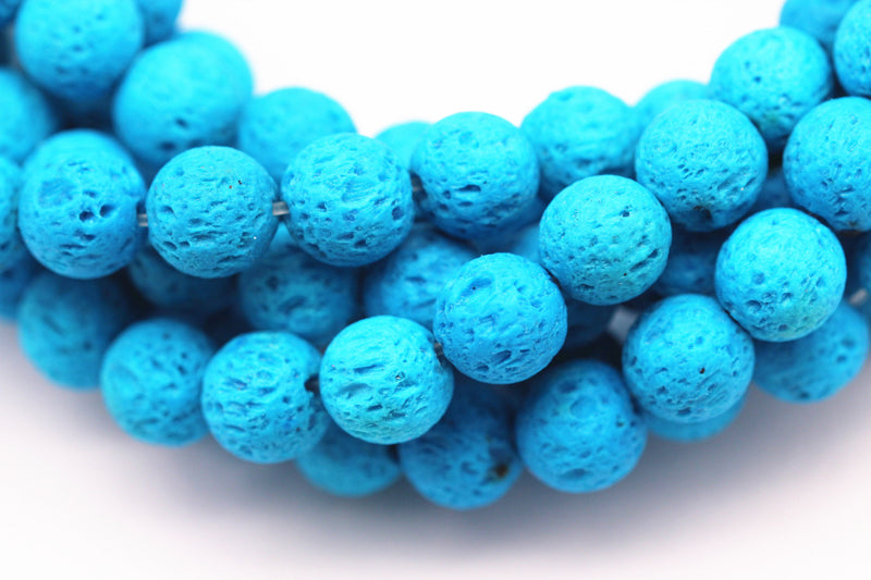 bright blue lava rock stone beads