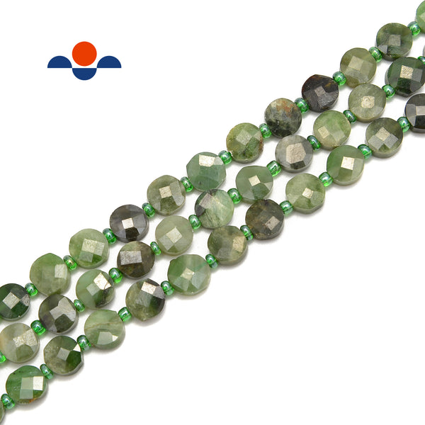"Natural Nephrite Jade Faceted Flat Coin Beads Size 8mm 15.5"" Strand"