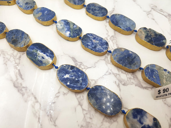 sodalite oval bezel slab gold leaf edge beads