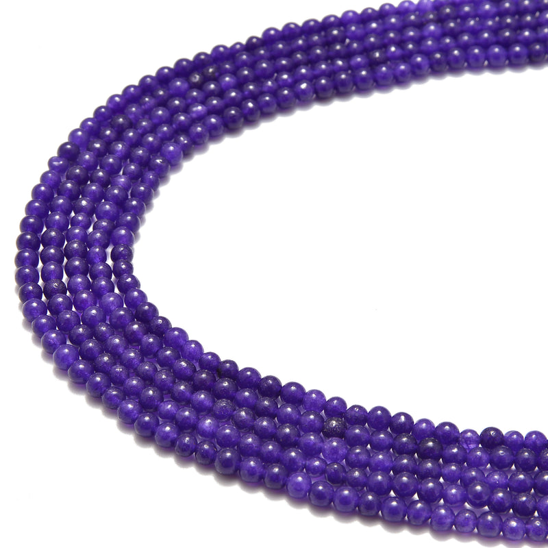 dark purple dyed jade smooth round beads