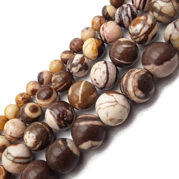"Natural African Zebra Jasper Smooth Round Beads 6mm 8mm 10mm 12mm 15.5"" Strand"