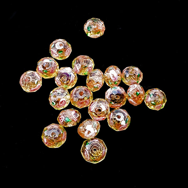 orange lampwork artisan handmade flower glass faceted rondell beads