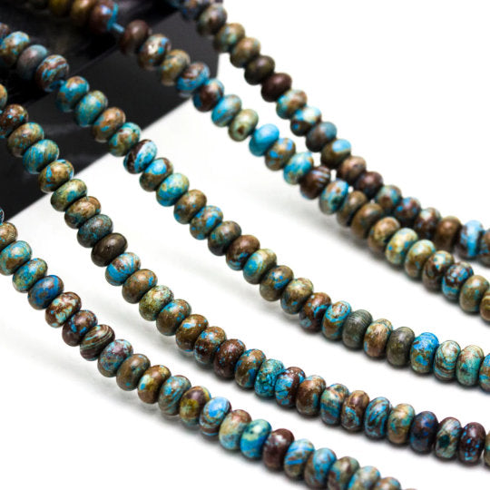 blue calsilica jasper smooth rondelle beads