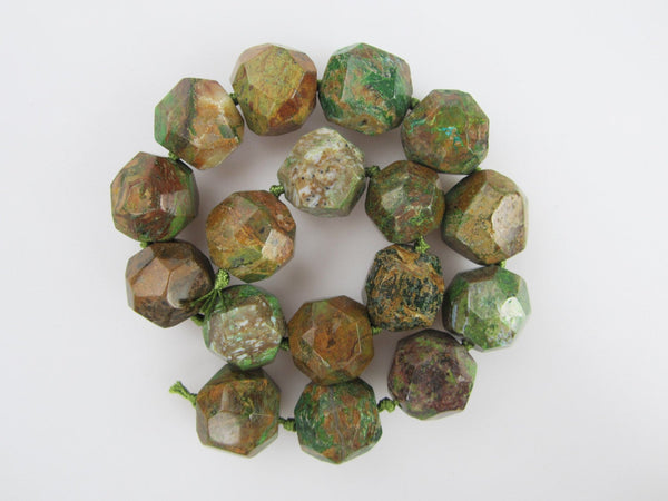 green jasper faceted nugget chunk beads