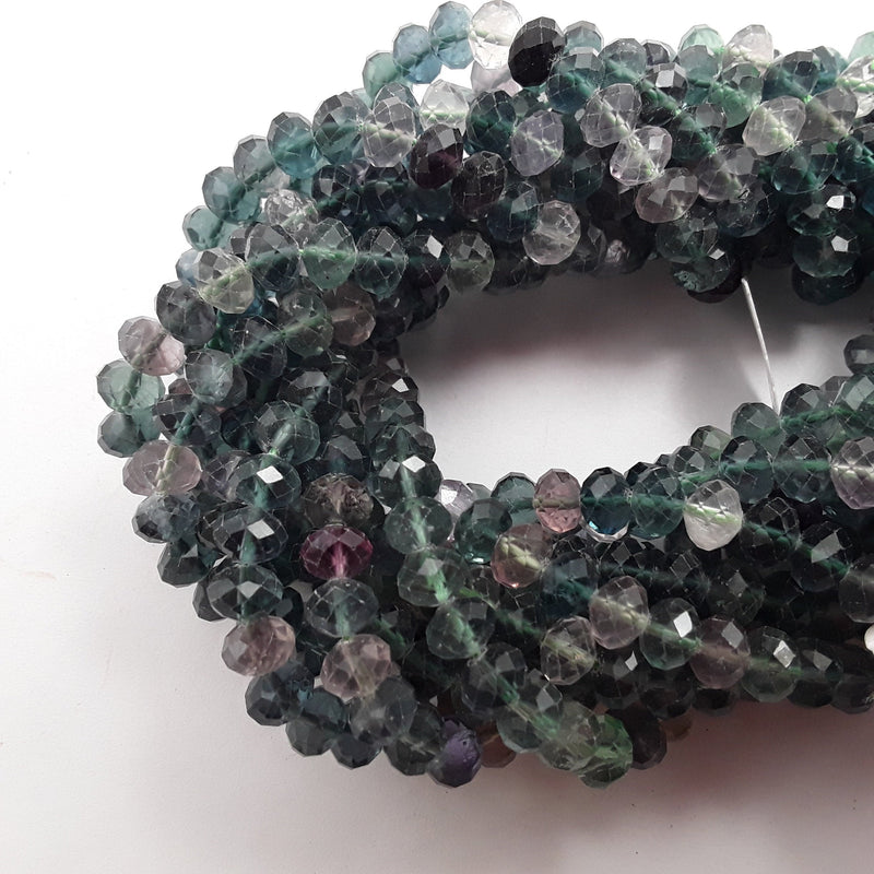 fluorite faceted rondelle beads