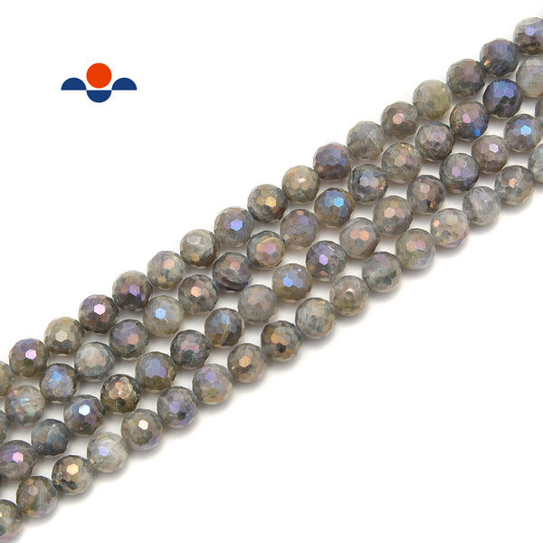 Coated Labradorite Hard Cut Faceted Round Beads Size 8mm 15.5'' Strand