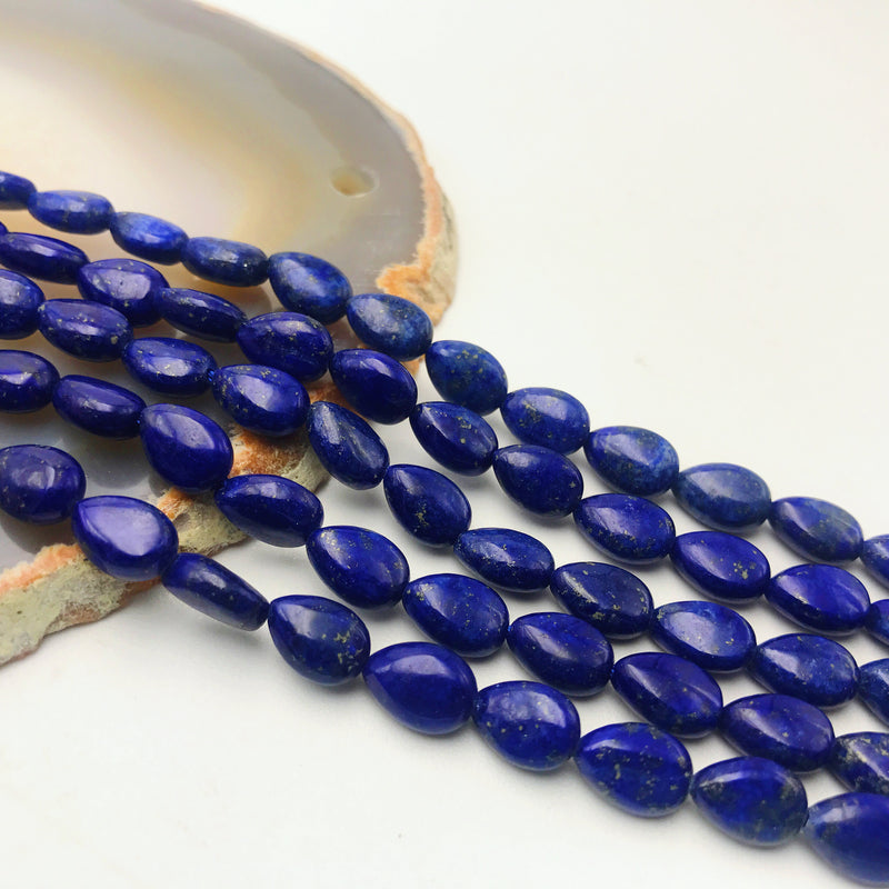 lapis lazuli smooth flat teardrop beads
