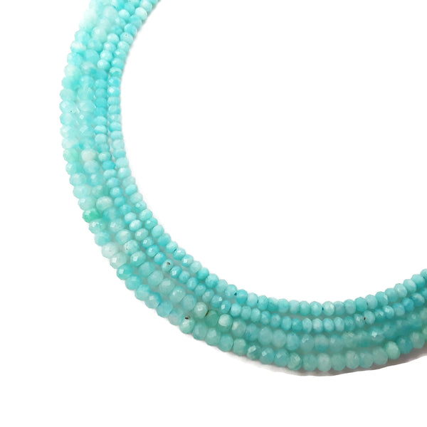 blue amazonite faceted rondelle beads